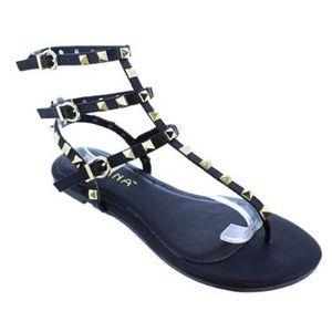 New! Black Studded Gladiator Sandals